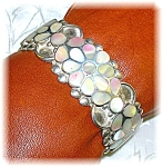 Native American Mother Of Pearl Signed Flower Cuff