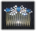 Click to view larger image of Blue and White Crystals  Rhinestone Hair Comb (Image1)