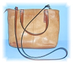 FOSSIL TAN LEATHER HANDBAG, PURSE ..........