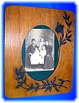 Click here to enlarge image and see more about item 1117200605: VINTAGE PICTURE FRAME WOOD WITH LEAF APPLIQUE..........