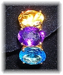 Earrings 14K Yellow Gold Citrine Amethyst Blue Topaz