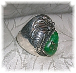 Sterling Silver Mans Green Turquoise Signed R.B Ring