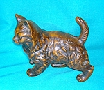 Click here to enlarge image and see more about item 1117200718: Bronze Metal Cat Ornament Figure