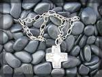 Click to view larger image of Sterling Silver Toggle Clasp Necklace With Cross J (Image2)