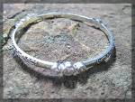 Click to view larger image of Bracelet Sterling Silver White Naural Zircon Bangle Peg (Image1)