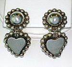Click to view larger image of Taxco Mexico Sterling Silver Heart Ball Dangle Clip Ear (Image1)