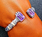 Click here to enlarge image and see more about item 1118200738: Bracelet Sterling Silver gold Amethyst Art Nouveau Look