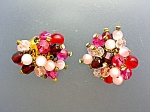 Glass Pink Cranberry Crystal Rhinestone Clip Earrings