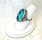 Click to view larger image of Sterling Silver Aqua Blue Green Glass Art Deco Ring (Image1)