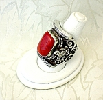Sterling Silver Red Coral Ornate Ring