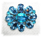 SPARKLING AQUA BLUE GLASS BROOCH, PIN........