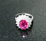 Click to view larger image of Ring Pink Tourmaline White Sapphire Sterling Silver (Image1)