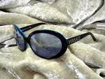 Click to view larger image of Sunglasses VERSACE Black Teal Frame Italy (Image4)