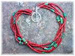Click to view larger image of Necklace Coral Turquoise Sterling Silver Toggle 5 Stran (Image2)