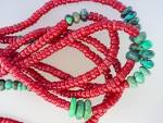 Click to view larger image of Necklace Coral Turquoise Sterling Silver Toggle 5 Stran (Image4)