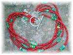 Click to view larger image of Necklace Coral Turquoise Sterling Silver Toggle 5 Stran (Image5)