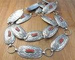 Click to view larger image of Native American Belt Sterling Silver Coral By Shirley S (Image2)