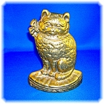 Click here to enlarge image and see more about item 1125200605: BRASS CAT DOOR STOP ...................