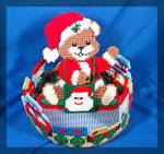 Cross stitched teddy bear center piece treat holder