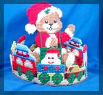 Click to view larger image of Cross stitched teddy bear center piece treat holder (Image2)
