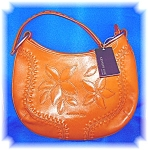 Kenneth Cole Tan Leather Flower Bag Purse