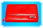 Red Leather MUNDI Check Book Purse Wallet