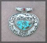 Click to view larger image of Pendant Sterling Silver Turquoise Coral Animals Nepal (Image7)