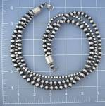 Necklace Sterling Silver Antiqued 3 Strand 68 Grams