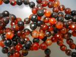 Carnelian/Sardonox Black Faceted Necklace 58 Inch