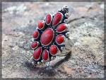 Ring Coral Sterling Silver L Ganado Native American