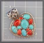 Click to view larger image of Native American Turquoise Spiny Oyster Heart Sterling S (Image3)