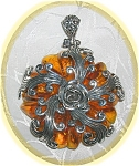 Click to view larger image of STERLING SILVER AMBER PENDANT........ (Image1)