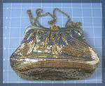 Click to view larger image of Gold Mesh Whiting  Davis Evening Bag Pearl Rhinestone T (Image3)