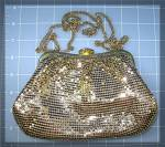 Click to view larger image of Gold Mesh Whiting  Davis Evening Bag Pearl Rhinestone T (Image5)