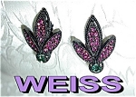 WEISS Leaf Earrings Bubble Gum Pink Green