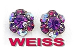 Click to view larger image of WEISS Earrings Bubble Gum Pink & Cranberry Borealis (Image1)