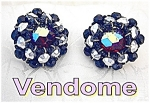 Click here to enlarge image and see more about item 1202200427: VENDOME Cranberry Black Glass Silver Clip Earrings