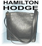 Click to view larger image of Black Leather Suede Lined Hamilton Dodge Bag (Image1)