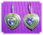 Click to view larger image of STERLING SILVER GOLD VERMEIL AMETHYST EARRING (Image1)