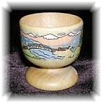 Click here to enlarge image and see more about item 1202200503: HAND PAINTED WOODEN EGG CUP, EVIAN.....