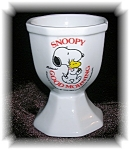 Click here to enlarge image and see more about item 1202200504: WHITE CHINA SNOOPY GOOD MORNING EGG CUP....