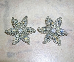 WEISS Crystal Silverf Flower Clip Earrings