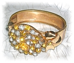 Click here to enlarge image and see more about item 1205200501: Gold Wash Rhinestone Bangle Bracelet