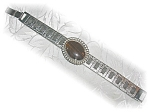 Click here to enlarge image and see more about item 1205200516: Brushed Silvertone Tiger Eye Bracelet