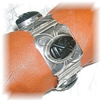 Click to view larger image of 1940s Sterling Silver Onyx Mexican Bracelet (Image1)