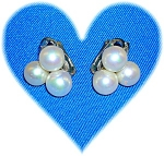 10K White Gold and Faux Pearl Clip Earrings
