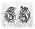 Click to view larger image of Sterling Silver Designerf Signed Clip Earring (Image1)