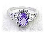 Ring  14K White Gold Diamonds TANZANITE