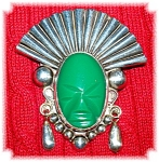 Sterling Silver Green Jade Face Brooch Mexico