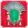 Click to view larger image of Sterling Silver Green Jade Face Brooch Mexico (Image5)